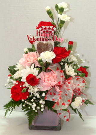 Valentines Special Variety of colorful flowers with a Chocolate Heart
