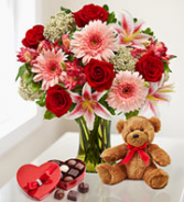 Valentines Surprise Bouquet, Chocolates and Plush
