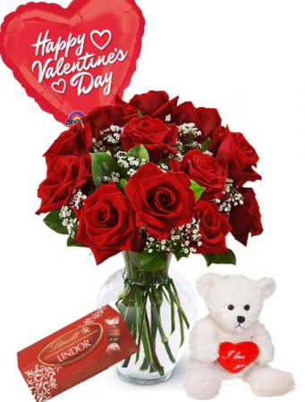 Valentines Supreme With Teddy And Chocolates Fresh Roses