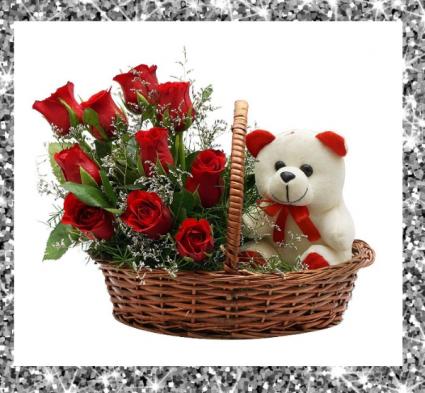 Valentine's Wicker Basket of Love Red Roses & Stuffed Animal