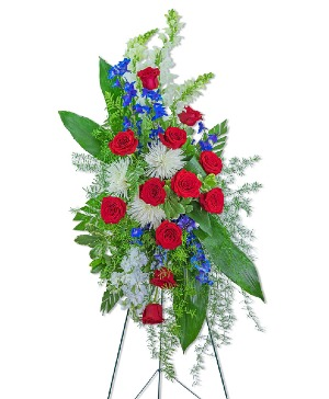 Valiant Honor Standing Spray Sympathy in Nevada, IA | Flower Bed