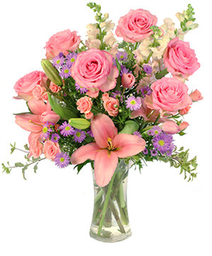 Rose's Blush Vase Arrangement  in Fitchburg, MA | CAULEY'S FLORIST & GARDEN CENTER