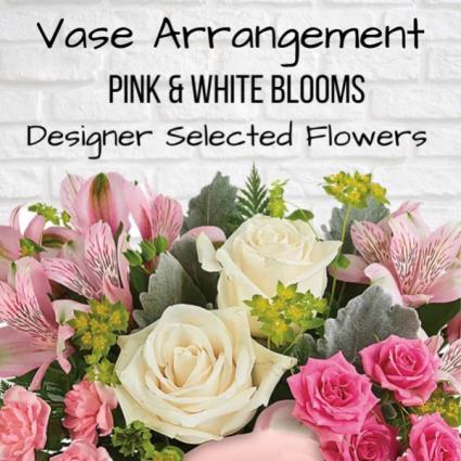 Vase Arrangement-Pink & White