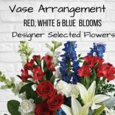 Vase Arrangement- Red, White & Blue