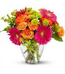 Vase of Pink & Fuchsia flowers