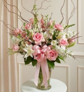 VASE PINK AND WHITE LILIES, ROSES, LARKSPUR