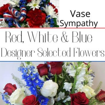 Vase-Red, White & Blue