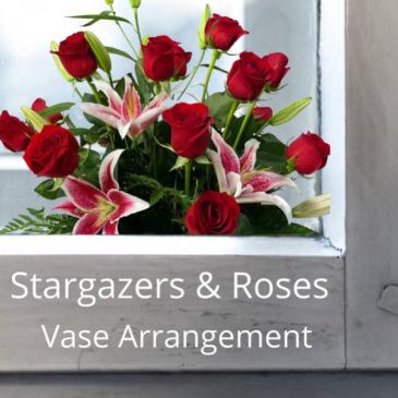 Vase-Stargazers & Roses