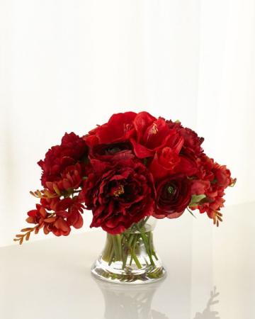 Vase/red & Burgundy peony, amaryllis,roses Valentine
