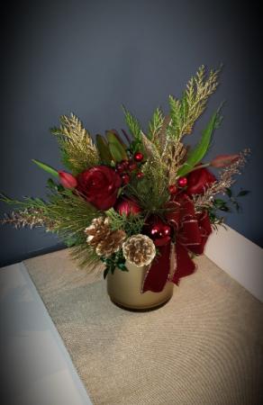 Velvet Christmas  Gold Cylinder
