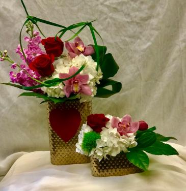 Velvet Heart Pair Fresh Floral Design