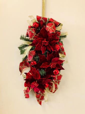 Velvet Poinsettia Silk Swag