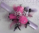 Very pink spray rose wrist corsage