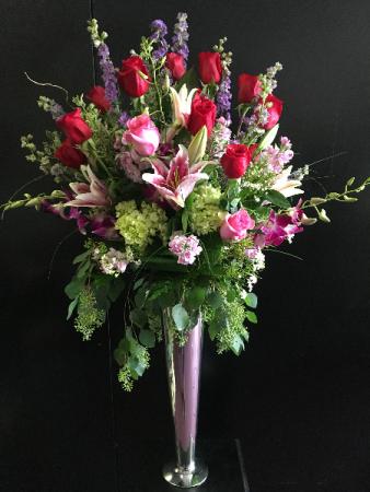 Special custom arrangement in trumpet vase