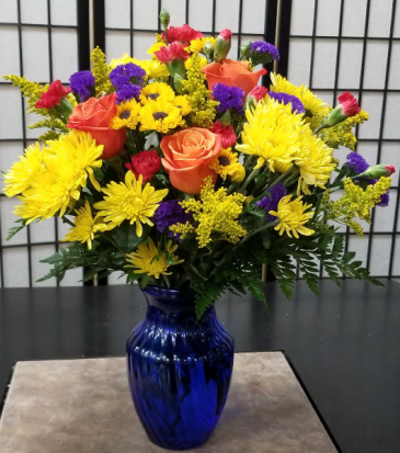 Vibrant Blooms Vased Arrangement