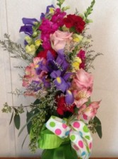 Vibrant Bold Color Bouquet over the arm hand tied bouquet