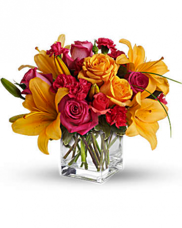 Vibrant Cube Of Lilies, Roses, And Carnations Flower Arrangement