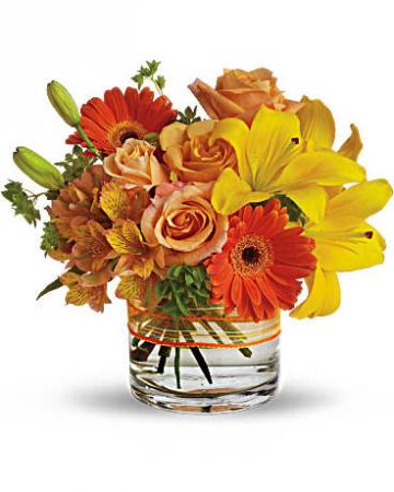 Vibrant Cylinder In Orange and Yellow Flower Arrangement