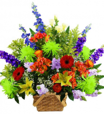 Vibrant Farewell Basket Sympathy Arrangement