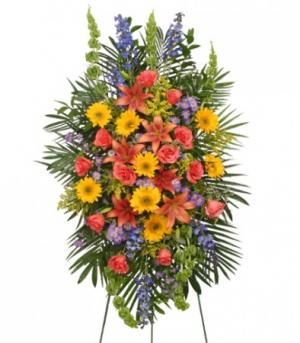 VIBRANT FLORAL EXPRESSION Standing Funeral Spray in Buda, TX | BUDAFUL FLOWERS
