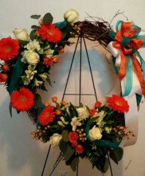 Vibrant Floral Grapevine Wreath Hanging Wreath