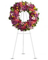 vibrant funeral wreath