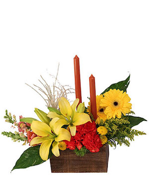 Vibrant & Glowing Centerpiece  in Three Rivers, MI | RIDGEWAY FLORAL
