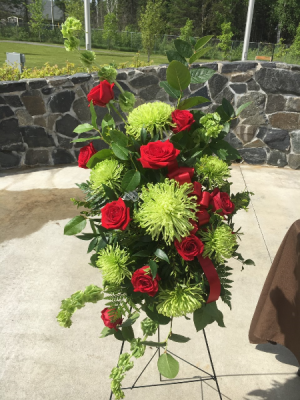 Vibrant Green with Red Roses Standing Spray in Red Lake, ON | FOREVER GREEN GIFT BOUTIQUE