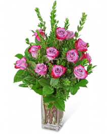 Vibrant Lavender Roses (12) Flower Arrangement