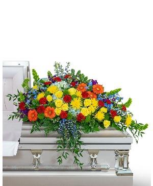 Vibrant Life Casket Spray Sympathy in Nevada, IA | Flower Bed