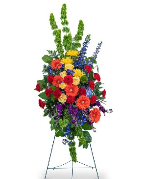 Vibrant Life Standing Spray Sympathy in Nevada, IA | Flower Bed