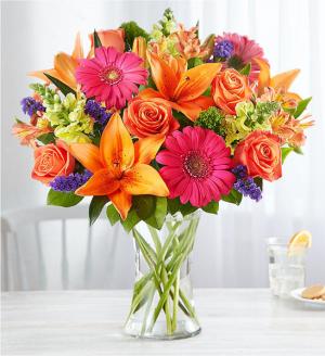 Vibrant Medley vase in Crossville, TN | Poppies Florist