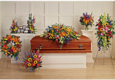 Vibrant Memories Funeral Setting Casket Spray + Accent Pieces