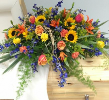 Vibrant Mix with Sunflowers Casket Spray