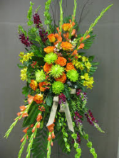 VIBRANT ORANGE AND GREEN STANDING SPRAY FUNERAL PC GOOD FOR FUNERAL AND MEMORIAL SERVICES