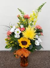 Vibrant Orange  Fresh Flower Vase
