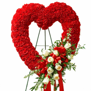 Vibrant Red Heart Standing Open Heart in Lauderhill, FL   BLOOMS WITH LOVE