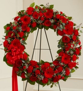 VIBRANT RED WREATH  Funeral flowers in Powder Springs, GA | PEAR TREE HOME.FLORIST.GIFTS