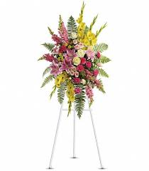 "VIBRANT SPRAY 2 STANDING FUNERAL PC ON A 5'-6"" STAND"