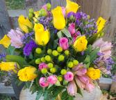 Vibrant Spring Mixed Vase Arrangement