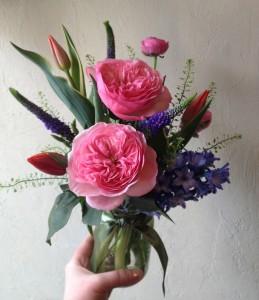 Vibrant Garden Roses Mason Jar Arrangement