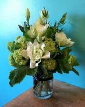 Vibrant Viburnum & Lizzy Vase arrangement
