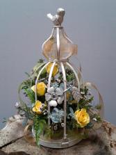 Victorian Bird Cage Lantern Keepsake Arrangement