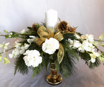 Victorian style centerpiece with candle & orchids