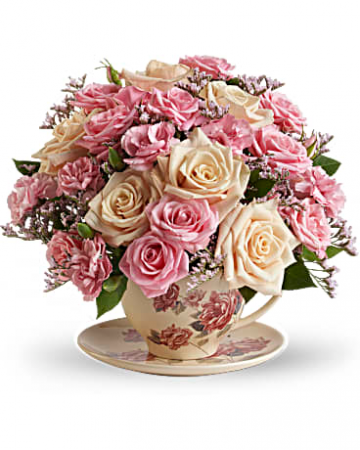 Victorian Teacup Bouquet assorted flowers