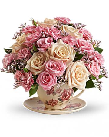 Victorian Teacup Bouquet assorted flowers