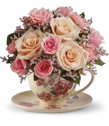 Victorian Teacup Bouquet One-Sided Floral Arrangement