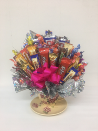 Victorian teacup candy bouquet