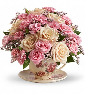 victorian teacup Miniature rose arrangement  in White Oak, PA | Breitinger's Flowers & Gifts