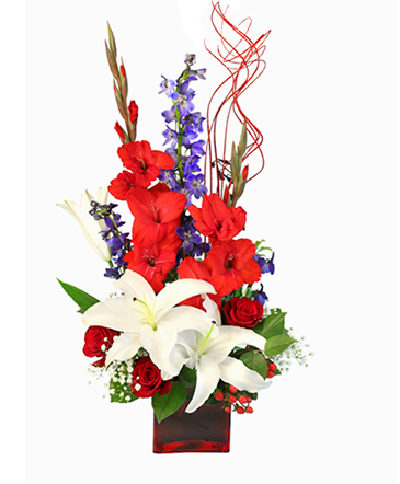 Victory Fireworks Vase Arrangement In Holbrook Ma White Flowers